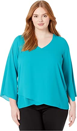 Plus Size Slit-Sleeve Asymmetric Top