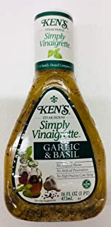 Ken's Simply Vinaigrette Garlic and Basil 16 Kl Oz (Pack of 2)- Gluten Free - No Artificial Flavors or Preservatives