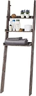 MyGift 3-Tier Rustic Torched Wood Over-The-Toilet Leaning Ladder Shelf