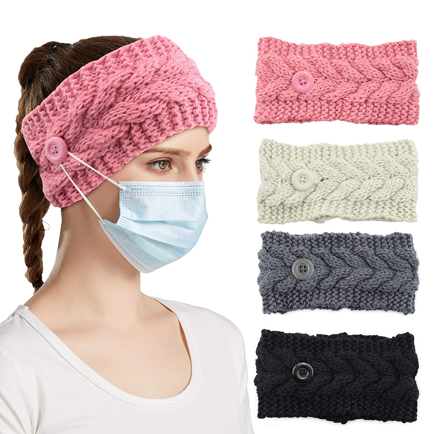 4 PCS Winter Headbands for Women, Knit Headband Ear Warmer with Button for Skating, Shopping, Skiing and Outdoor Activities, Crochet Head Wraps Ear Protection Holder