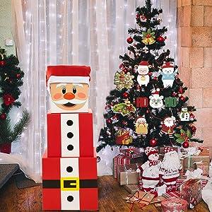Joy Bang Christmas Box Decoration Christmas Stacking Boxes Large Santa Claus Gift Boxes Christmas Nesting Boxes Xmas Stackable Gift Box Decoration
