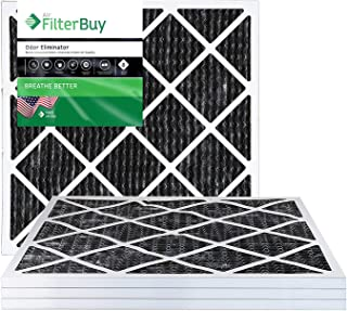 FilterBuy Allergen Odor Eliminator 14x14x1 MERV 8 Pleated AC Furnace Air Filter with Activated Carbon - Pack of 4-14x14x1