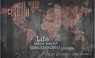 WORLD MAP RUSTIC BARN WOOD PALLET SIGN - Life takes you to unexpected places, love brings you home. 42