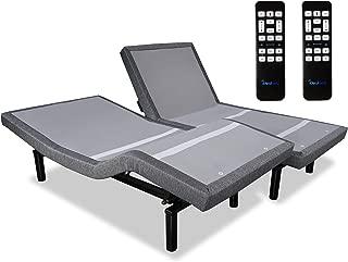 iDealBed Adjustable Bed Base, Wall Hugger, Wireless Massage, Zero-Gravity, Anti-Snore, Night Light, Memory, Next Gen USB Ports, Split Cal King, Grey
