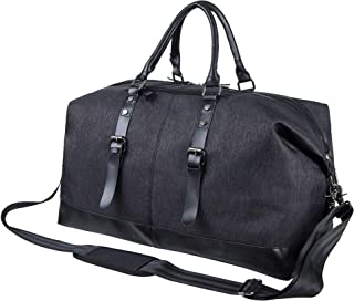 Oversized Leather Travel Duffel Bag, Leather Weekender Overnight Bag Large Carry On Bag Travel Tote Duffel Bag for Men or Women