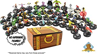 60 Random Miniature Figure Assortment! Great Variety of Random Superhero Mini Figures! Includes Golden Groundhog Treasure Chest Storage Box!