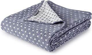 Dawson Star Three Layers Lightweight 100% Soft Washed Cotton Gauzy Blanket (Queen, Blue)