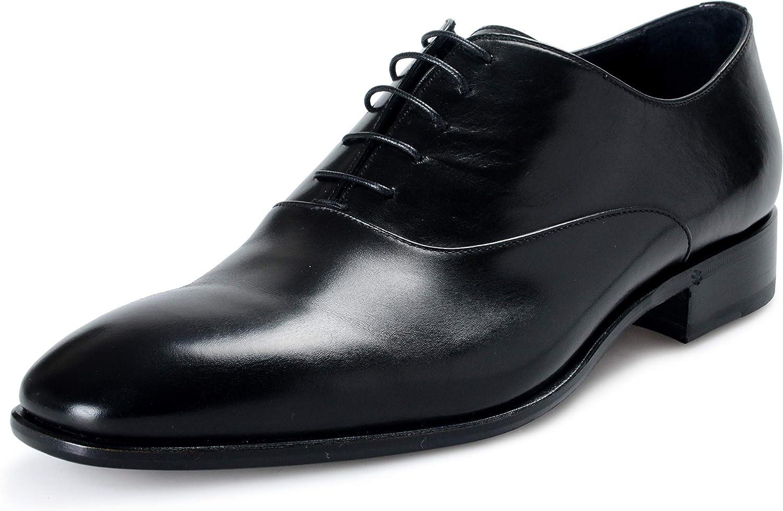 ROBERTO CAVALLI Men's Black Leather Lace Up Oxfords Shoes Sz US