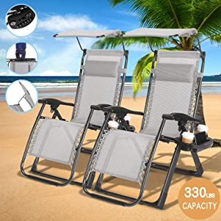 4-EVER Heavy Duty Zero Gravity Outdoor Lounge Chairs Adjustable Folding Patio Reclining Chairs Beach Chairs W/Canopy Sunshade + Cup Holder + Accessory Slot 2 PCS Grey