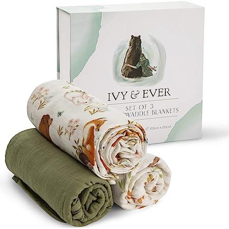 IVY & EVER Organic Cotton Muslin Swaddle Blankets Unisex - Woodland Baby Swaddle Wrap Nursery Receiving Blankets Neutral - Baby Swaddle Blanket 47 x 47 inches Woodland Receiving Blankets 3 Pack