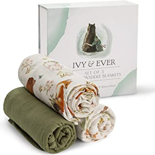 IVY & EVER Organic Cotton Muslin Swaddle Blankets Unisex - Woodland Baby Swaddle Wrap Nursery Receiving Blankets Neutral -...