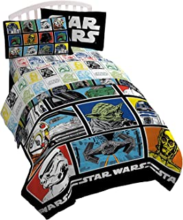 Stars Wars Classic Character Grid Twin Comforter - Super Soft Kids Reversible Bedding features Star Wars characters - Fade Resistant Polyester Microfiber Fill (Official Stars Wars Product)