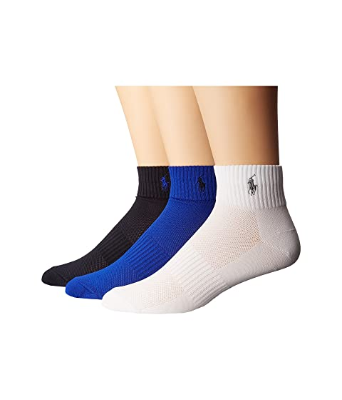 Polo Ralph Lauren 3-Pack Polypropylene Technical Quarter with Arch Support and Polo Player Embroidery, ROYAL