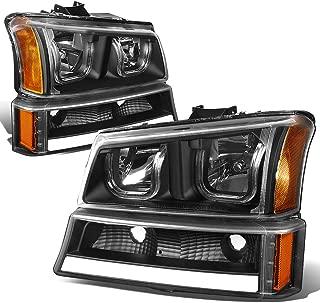 For Chevy Silverado/Classic/Avalanche Black Housing Amber Corner LED DRL Halo Headlights+Turn Signal Lights