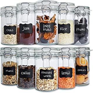 Creative Home Bocaux en Verre Lot | 10 x 500 ml | Hermétique avec Couvercle | Bocal Jar Pot Decoratif | Pour Conservation ...