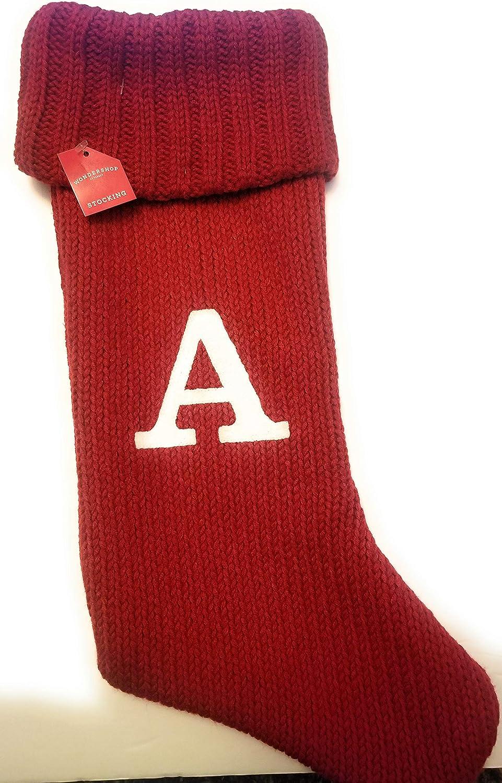 Wondershop Christmas Holiday Thick Monogram Letter オンラインショッピング 情熱セール Stocking Red