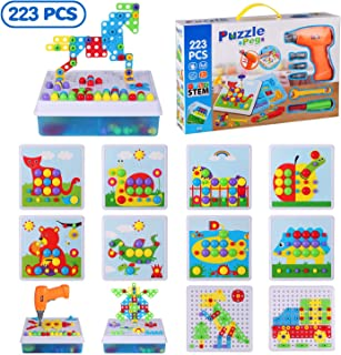 STEM Learning Toys 215 Pieces Set DIY 4in1 Nuts and Bolts Blocks Kids Educational Design Board 3D Puzzle Toy Kit with Electric Toy Drill for Boys and Girls Ages 3+ 215PCS