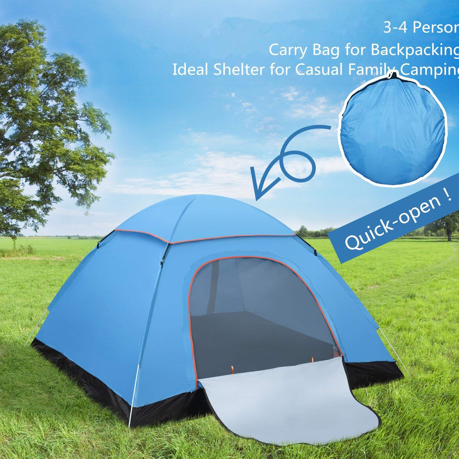 FITFIRST Pop Up Tent, Automatic Portable Beach Tent,Water Resistant Camping Tent, Outdoor Sun Shelter With Carry Bag for Family