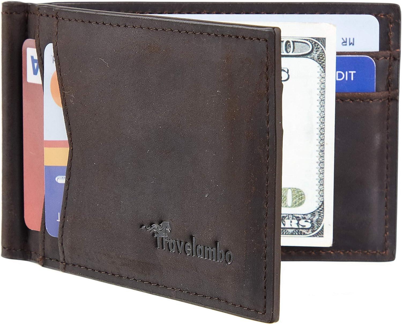 Travelambo Vegan Leather RFID Blocking Slim Minimalist Front Pocket Wallet Money Clip
