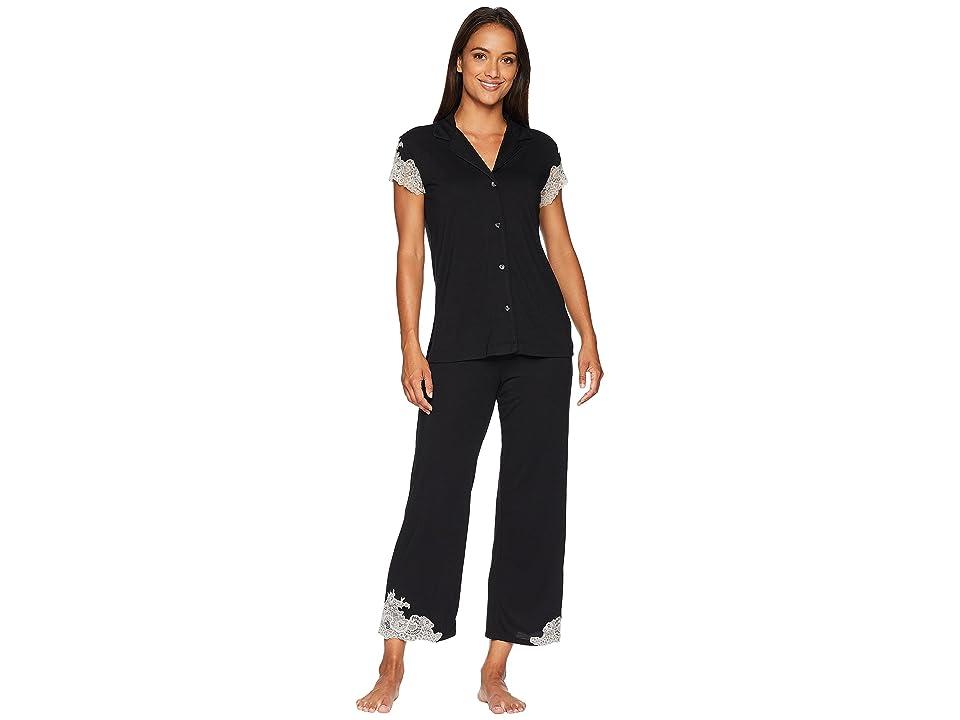 Natori Luxe Shangri-La Short Sleeve Notch PJ Set (Black) Women