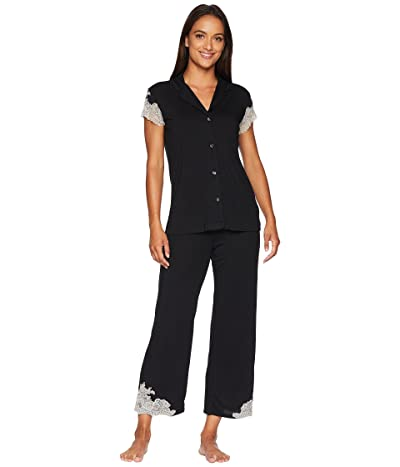 Natori Luxe Shangri-La Short Sleeve Notch PJ Set (Black) Women