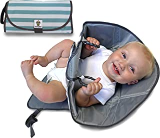 SnoofyBee Portable Clean Hands Changing Pad. 3-in-1 Diaper Clutch, Changing Station, and Diaper-Time Playmat with Redirection Barrier for use with Infants, Babies and Toddlers (Blue Stripe)