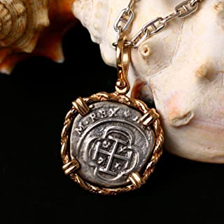 Coin from Genuine 100% Atocha Silver Shipwreck Historical Spanish Replica Coin Pendant - Rope Chain Border - Available in 14kt Gold or 925 Sterling Silver Frame - Includes Certificate of Authenticity