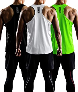 DRSKIN Men's 2~3 Pack Dry Fit Y-Back Gym Muscle Tank Mesh Sleeveless Top Fitness Training Cool Dry Athletic Workout
