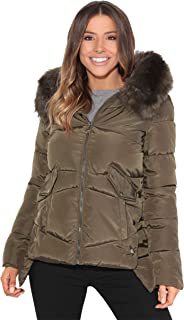 KRISP Women Ladies Padded Puffer Jacket Warm Quilted Hood Parka Winter Coat
