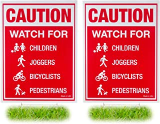 2 Pack: Caution - Watch for Children, Joggers, Bicyclists, Pedestrians and Pets - 18x24 Lawn Safety Sign with H-Stakes