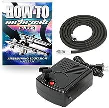 PointZero Mini Airbrush Compressor - Portable Hobby Oil-Less Air Pump with Hose