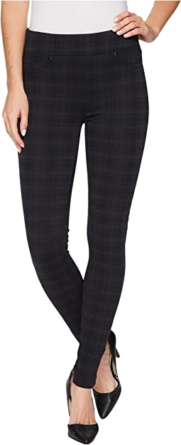 Liverpool - Sienna Pull-On Leggings in Glenn Plaid Soft Ponte Knit in Night Sky Blue