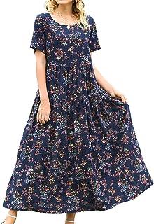 YESNO زنانه گاه به گاه آستین کوتاه لباس گل بوهمی لباس آستین کوتاه بلند تابستانی تابستانی تابستانه لباس / جیب EJF