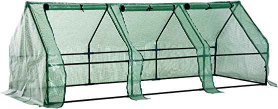 Outsunny Portable Mini Greenhouse with Large Zipper Doors, 9' L x 3' W x 3' H, Waterproof UV Protected Cover, Green