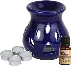 Pure Source India Ceramic aroma burner Regular Dark Blue Color with 10 ML Lavender Aroma Oil and 4 Tea Light Candle ( Oil Burner Set )