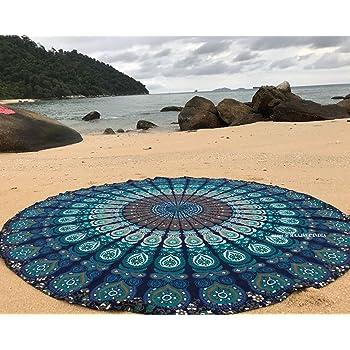 Yoga THE ART BOX in Cotone per Picnic da Appendere alla Parete Rotondo Asciugamano Rotondo da Spiaggia con Mandala