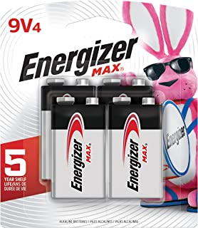 Energizer Max 9V Batteries, Premium Alkaline 9 Volt Batteries (4 Battery Count) - Packaging May Vary (Renewed)
