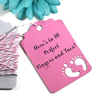 Hot Pink Baby Girl Shower Favor Tags - Thank You Favor Tags - Here's to 10 Perfect Fingers and Toes! (Set of 20)