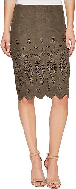 Karen Kane - Laser Cut Faux Suede Skirt