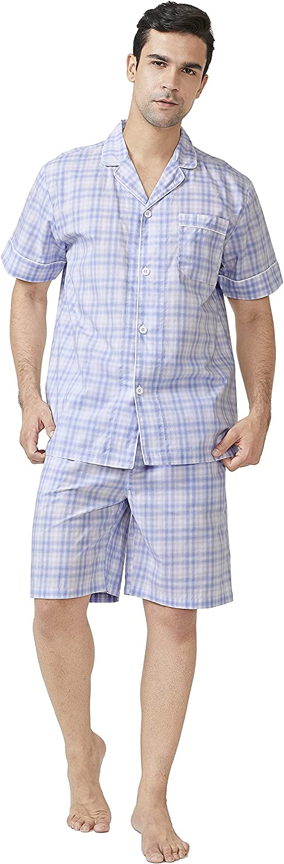 DAVID ARCHY Men's Lightweight Sleepwear Woven Cotton Button-Down Short Sleeve Pajamas Set Loungewear