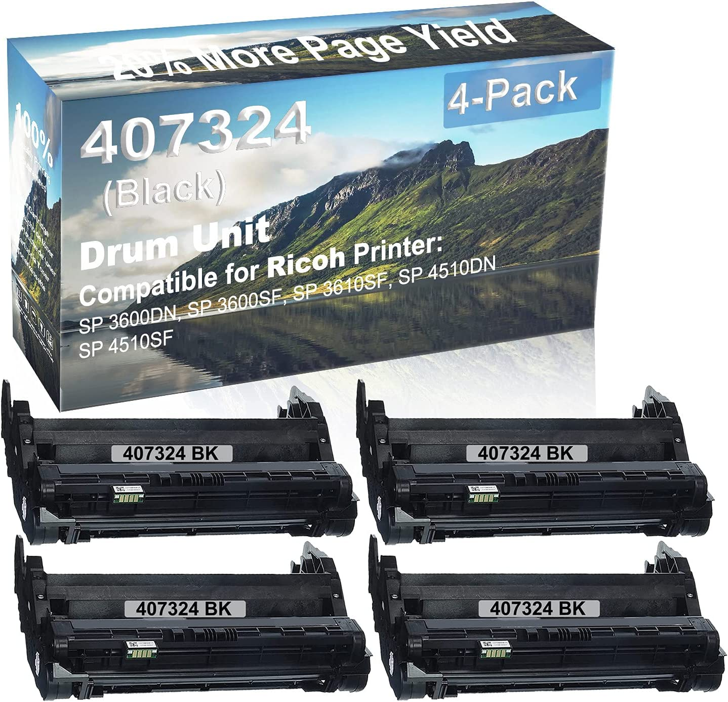 4-Pack Compatible Drum Unit (Black) Replacement for Ricoh 407324 Drum Kit use for Ricoh SP 3600DN, SP 3600SF, SP 3610SF, SP 4510DN, SP 4510SF Printer