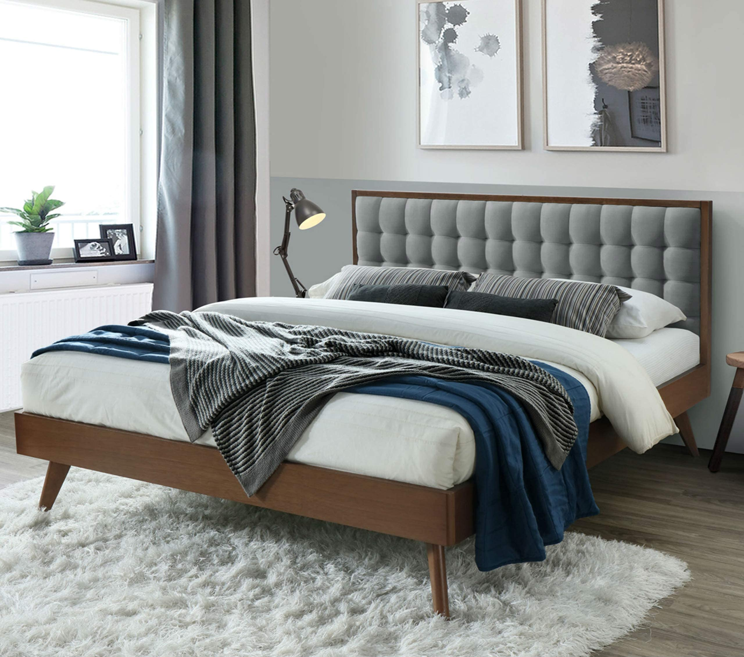 DG Casa Soloman Mid Century Modern Tufted Upholstered Platform Bed Frame, King Size in Grey Fabric, Gray
