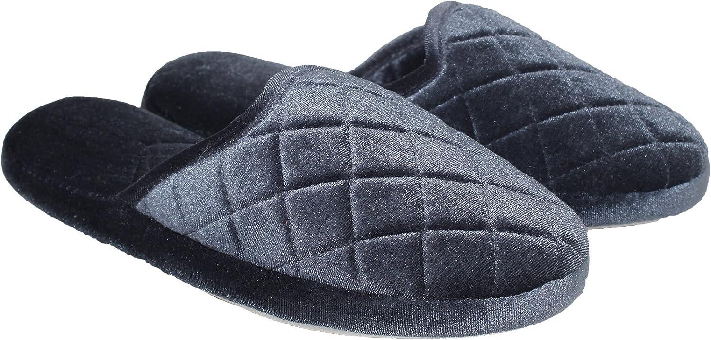 bluee Star Women's Comfort Memory Foam Velvet House Slippers Slip-Resistant Rubber Sole  Indoor Outdoor