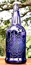32oz. Flotus Etched Cobalt Blue Glass Bottle with Swing Top Lid