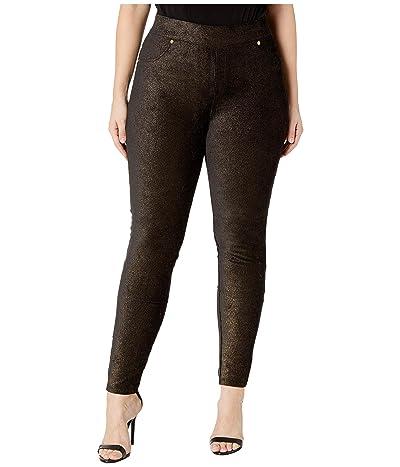 MICHAEL Michael Kors Plus Size Foil Pull-On Leggings (Black/Gold) Women