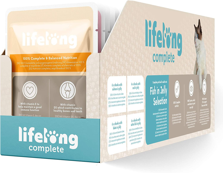 Marca Amazon - Lifelong Alimento completo para gatos adultos - Selección de pescado en gelatina, 2,4 kg (24 bolsitas x 100g)