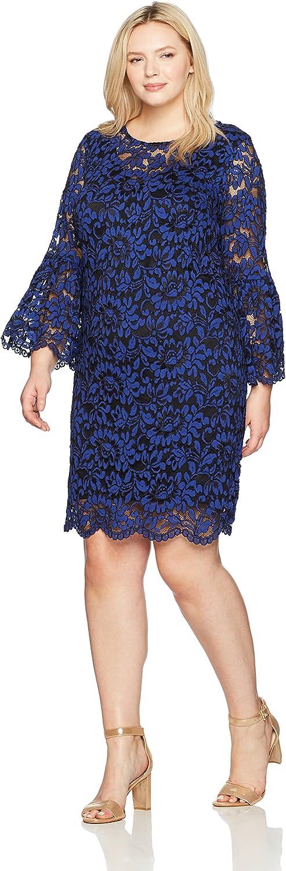 Chetta B Womens Bell Sleeve Lace Dress Plus Dress