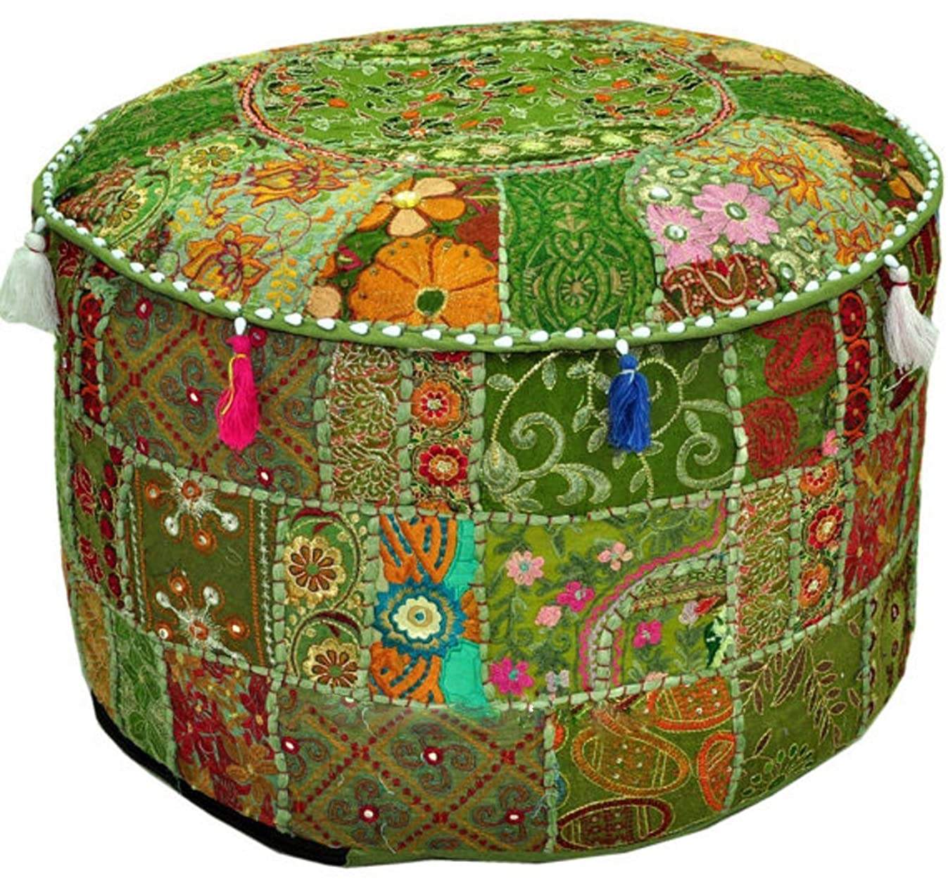 Aakriti Gallery Indian Pouf Footstool Ethnic Embroidered Pouf Cover, Indian Cotton Round Pouffe Ottoman Pouf Cover Pillow Ethnic Decor Art - Cover Only (18x13inch) (Green)