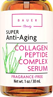 Collagen Face Serum Best Anti Aging Peptide Complex with Matrixyl 3000 and Hyaluronic Acid, Vitamin E, Brightening and Ski...