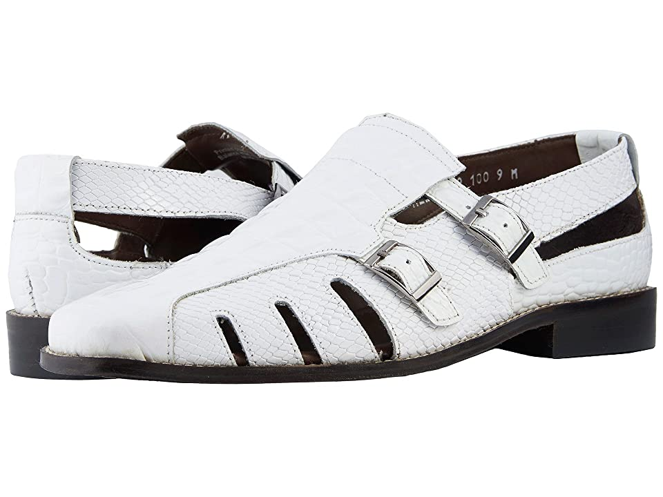 1940s Mens Shoes | Gangster, Spectator, Black and White Shoes Stacy Adams Seneca Fisherman Sandal White Mens Shoes $90.00 AT vintagedancer.com